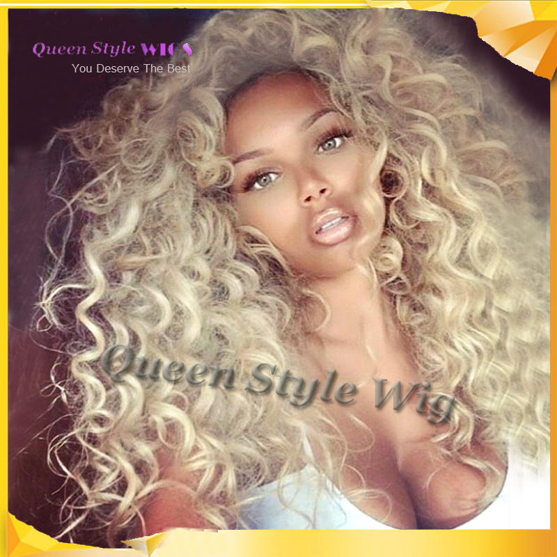 Synthetic Heat Resistant light Blonde Kinky Curly Lace ...