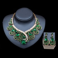 LAN PALACE Valentines Day Trendy Bridal Crystal Jewelry Set Engagement Necklace And Earrings Costume Jewelry