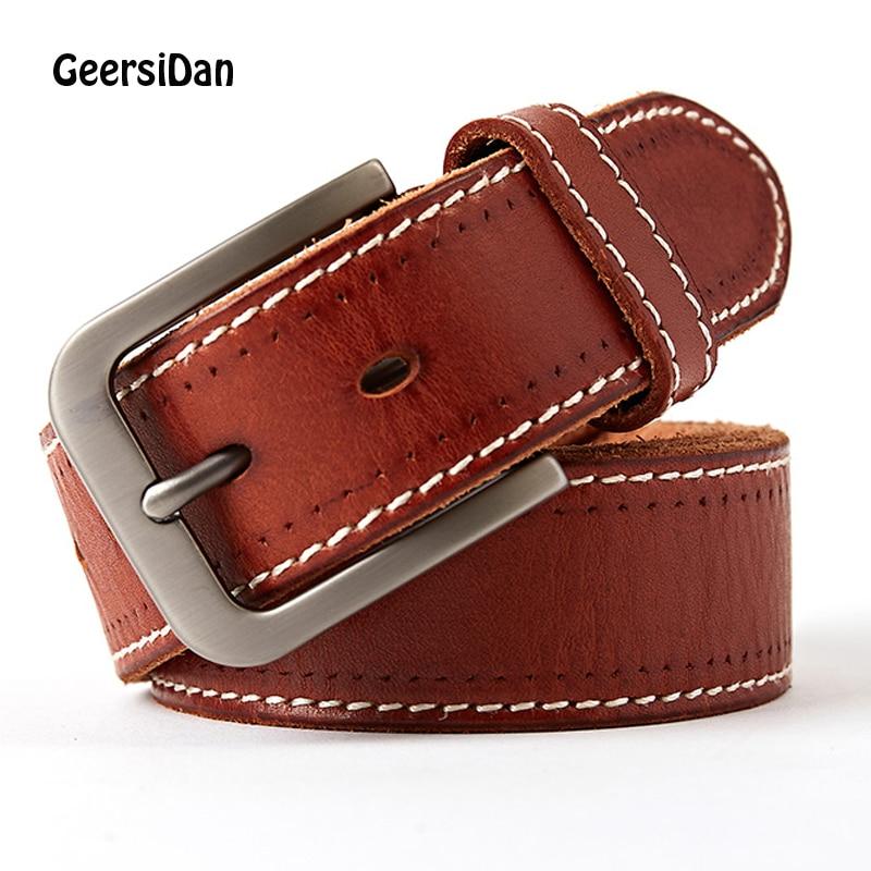 Men s belt cowskin leather belt men male genuine leather strap luxury pin buckle casual men