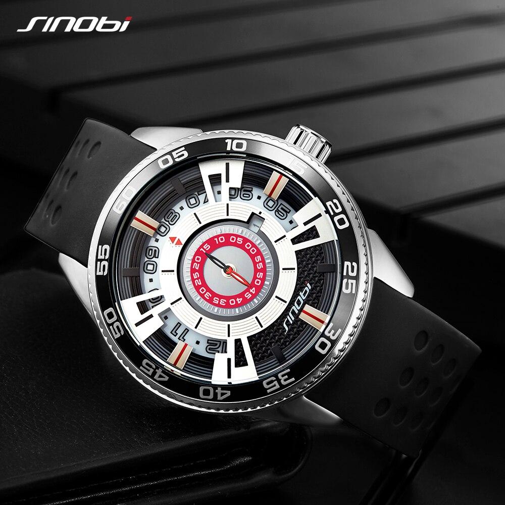 Quartz Watch Mens Creative Speed Design Black Fashion Wrist Watches Rubber Strap Full Stainless Steel Man