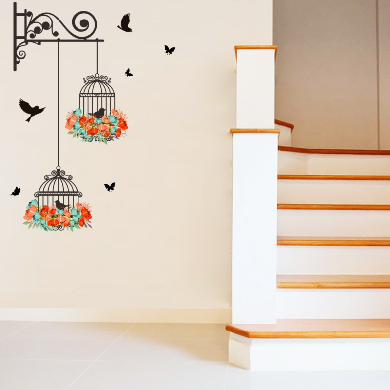 Vinyl Wall Decals Wall Sticker for Kids Room Home Decor Birdcage Flower Flying for Living room Nursery Room Wall Stickers