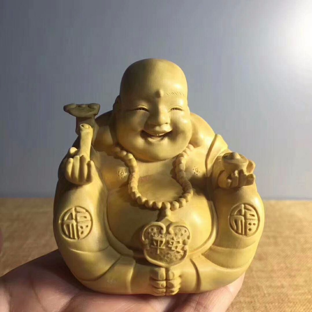 Buxus bois artisanat bois sculpture statues décoration bois Wenwan pièces à main voiture décoration bien bouddha.