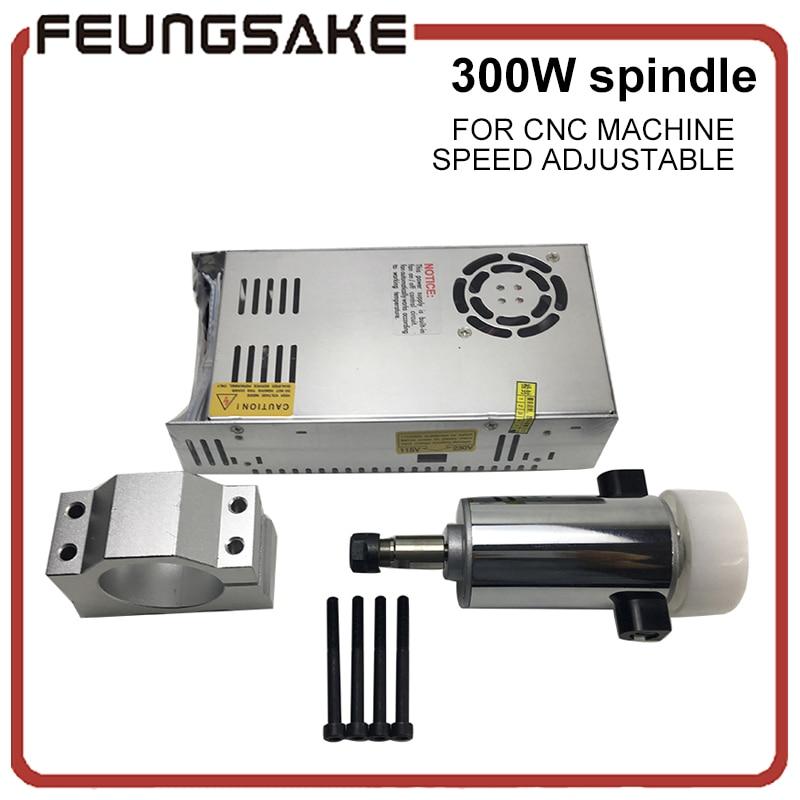 цена на CNC air cooled 300W DC spindle Motor 12v-48V DC ER11 collect+52mm Mount bracket fixture for PCB CNC Mahine Mach3 GRBL control