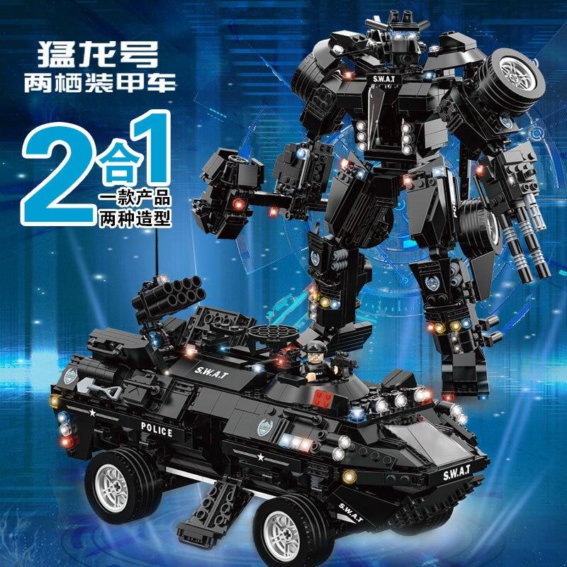 1044 stücke kinder pädagogisches bausteine spielzeug Kompatibel Legoingly stadt Robotic rüstung Raptors amphibien gepanzerte fahrzeug-in Sperren aus Spielzeug und Hobbys bei  Gruppe 3