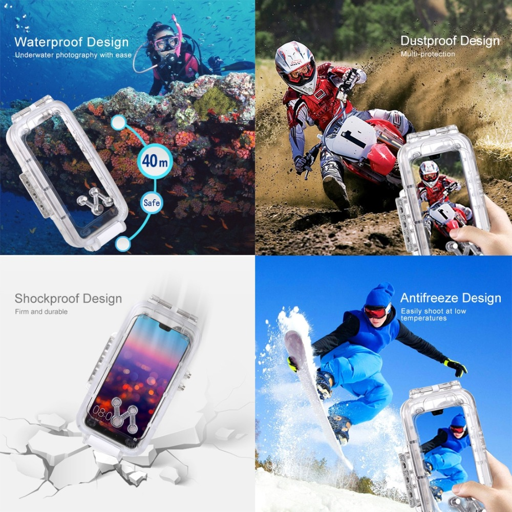 Haweel for huawei p20 40m/130ft Professional Waterproof Diving Housing Photo Video Taking Underwater Cover Case For Huawei P20 - 5