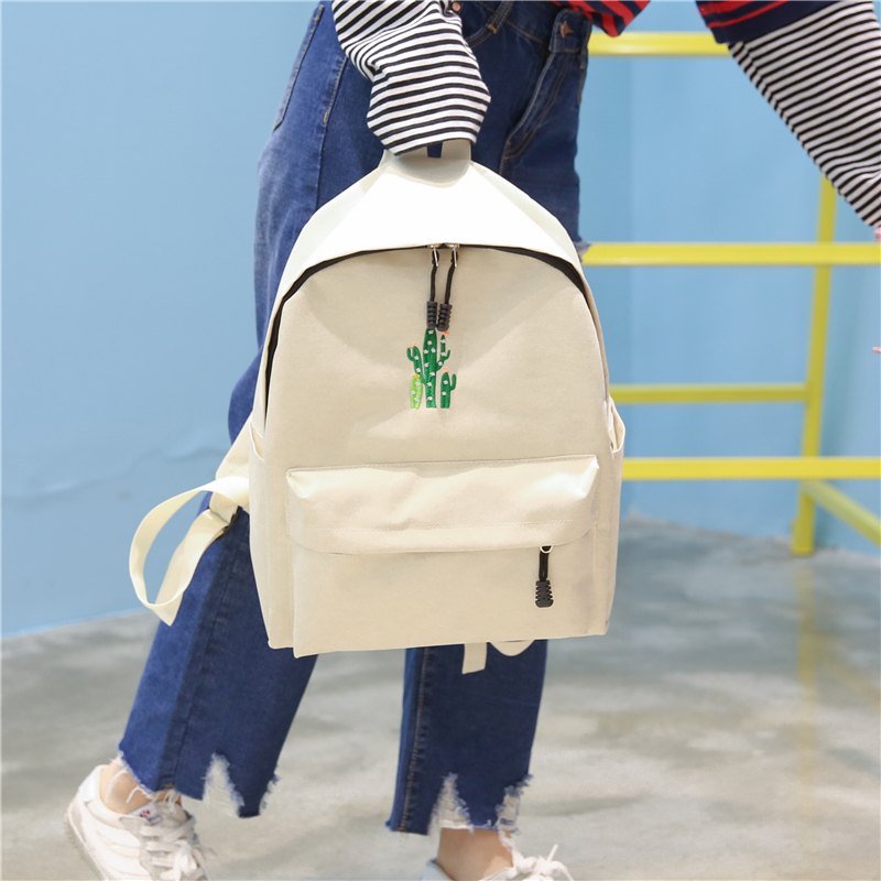 New Cactus Embroidery Simple Canvas Backpack Students School Women Girl Rucksack Mochila Escolar Women Backpack (20)
