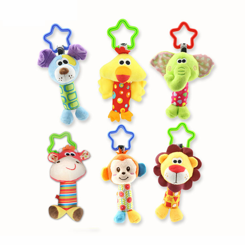 2019 Hanging Plush Baby Toy Rattle Lovely Cartoon Animal Bell Newborn Stroller Accessories Baby Toys 6 Style Lion Deer Elephant