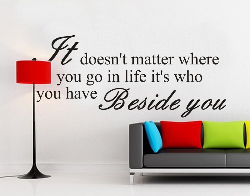 It Doesnt Matter Where You Go In Life Its Who You Have Beside You Living Room Backdrop Motto Art Home Decor Wall Sticker ...