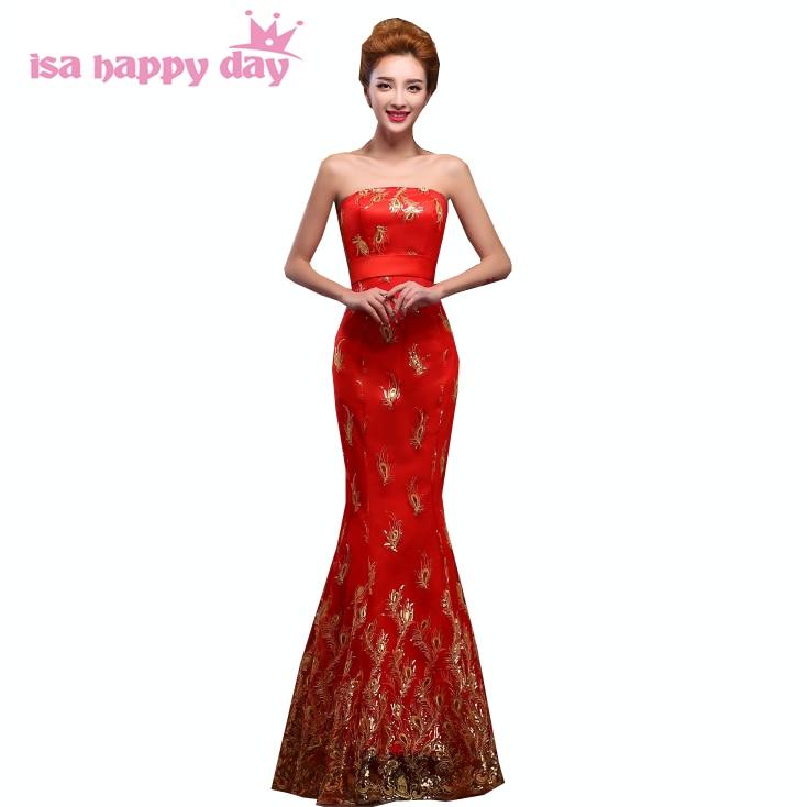 277248aaa3d6 Fancy mermaid vintage formale pizzo rosso cinese tradizione sexy donne del  vestito da sera 2019 celebrità