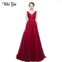 2017 Robe De Soiree WEIYIN Lace Beading Sexy Backless Long Evening Dresses Bride Banquet Elegant Floor