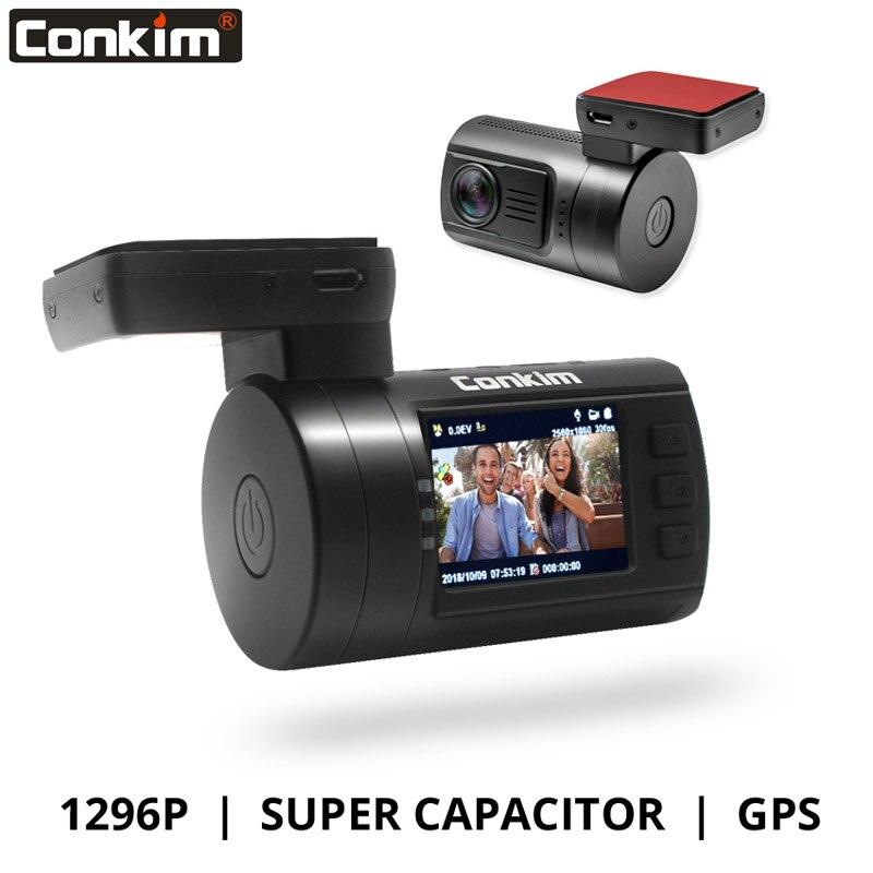 Conkim Ambarella A7 caméra de tableau de bord Mini 0806 s voiture DVR avec GPS 1296 P 1080 P Full HD Auto enregistreur vidéo Super condensateur voiture caméra GPS