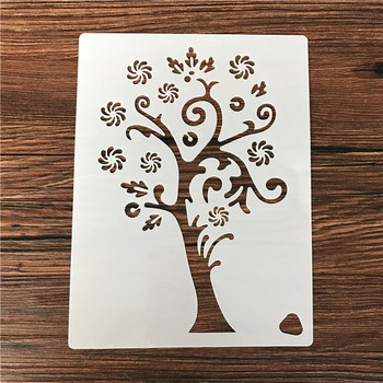 2020 Reusable Christmas snowflake tree flower Stencil Airbrush Painting Art DIY Home Decor Scrap booking Album Crafts image