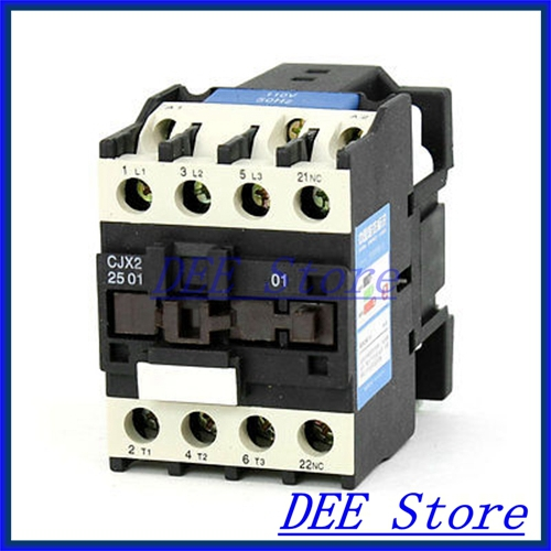 35mm DIN Rail Mounted 3P+1NC 110V Coil 25A AC Contactor CJX2-2510 35mm din rail mounted 3p 1no 380v coil 25a ac contactor cjx2 2510