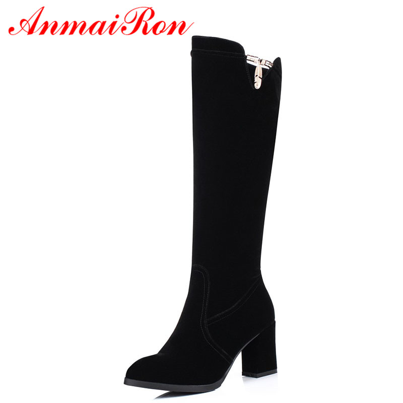 ANMAIRON New Arrival Women Shoes Knee-high Boots Big Size Black Color Winter Warm Boots Square Heel Round Toe Boots Shoes WomenANMAIRON New Arrival Women Shoes Knee-high Boots Big Size Black Color Winter Warm Boots Square Heel Round Toe Boots Shoes Women