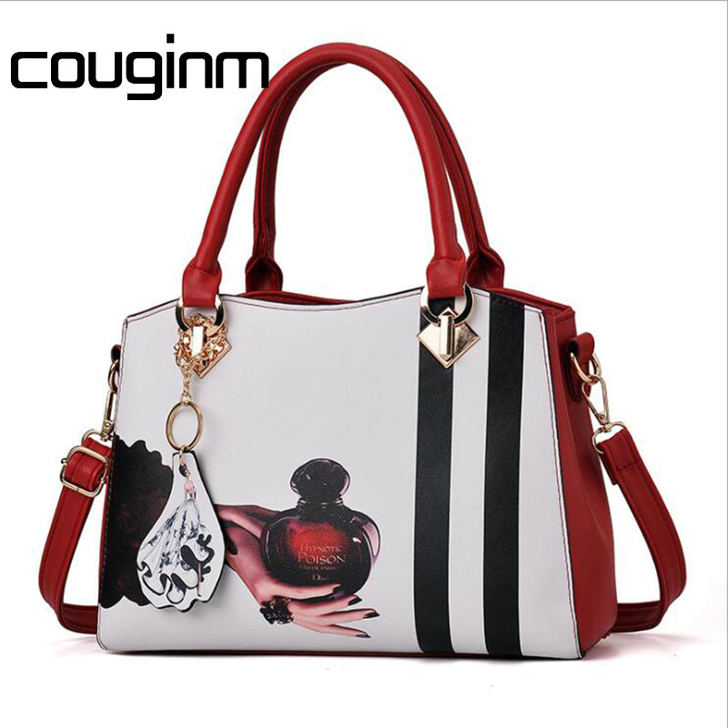 COUGINM New Women Shoulder Bags Letter Shoulder Strap Lady Fashion PU Leather Hit Color Package Handbag With Fashly Pendant Bag