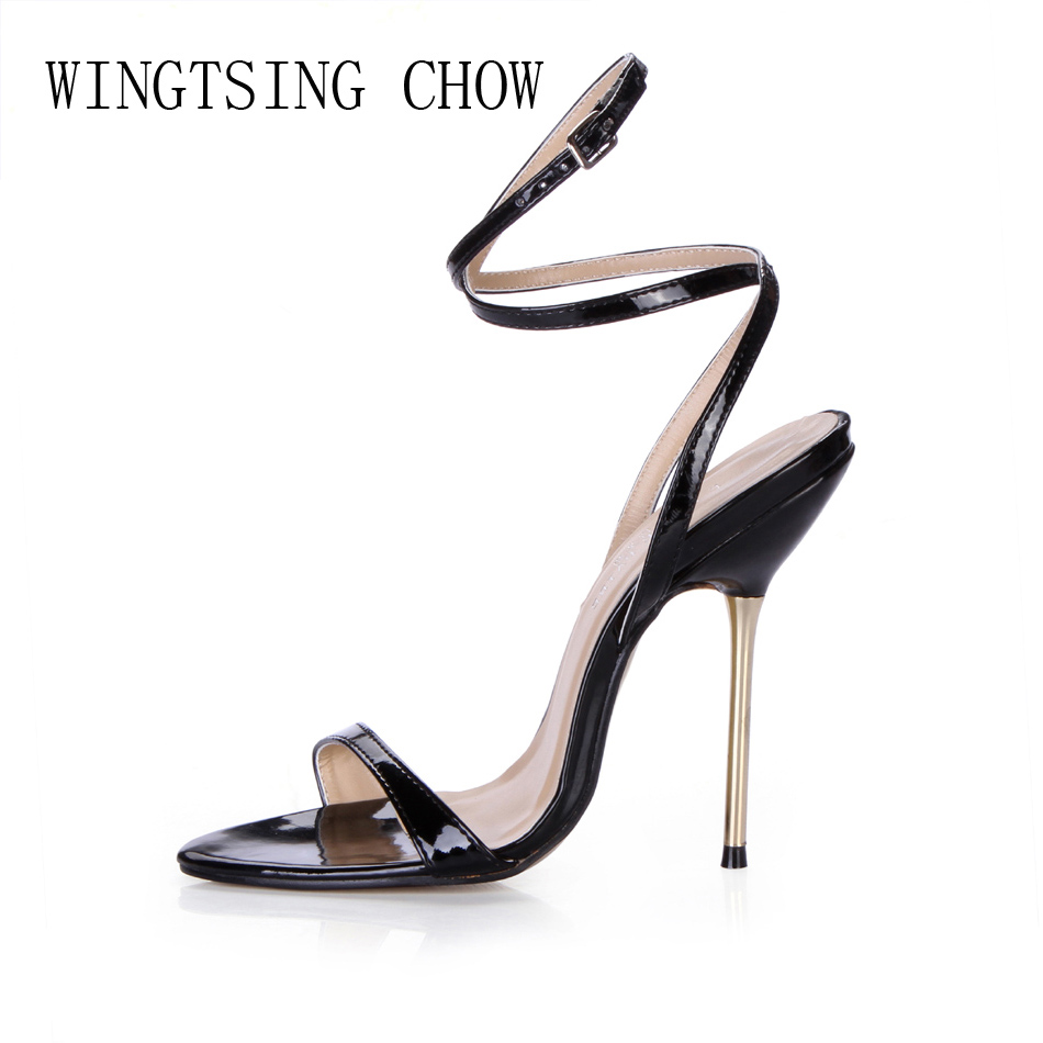 2016 New Black Sexy Party Shoes Women Stiletto High Heels Ankle Strap Work Office Lady Sandals Zapatos Mujer Plus Sizes 3845-i11 women wedding shoes suede pump high heels ol lady office shoes pointy chic court stiletto candy color party classic shoes