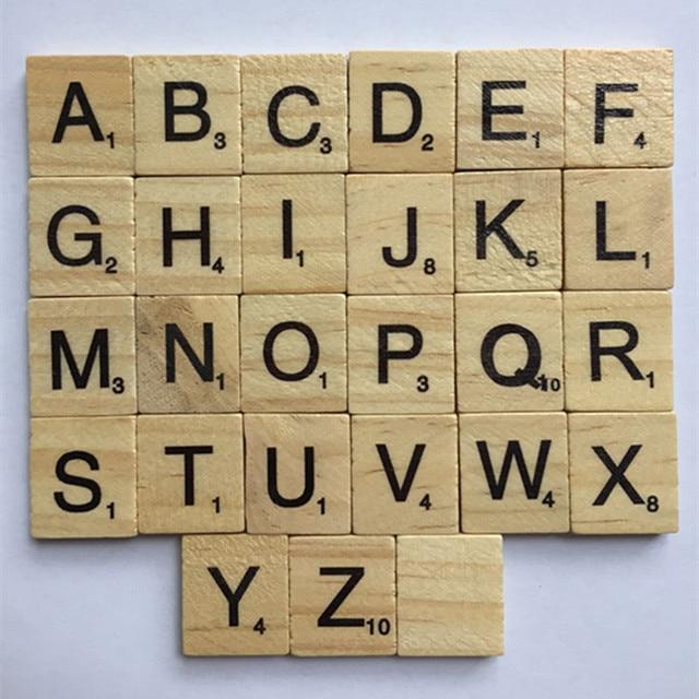 lettre w scrabble New 100Pcs Burlywood Color Wooden Alphabet Scrabble Tiles Black  lettre w scrabble