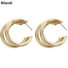 European and American metal multi-ring cc earrings Stylish golden statement earrings for women's jewelry