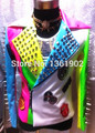 Fashion plus size leather colorful rivets outerwear stage costume male ds dj singer dancer coat slim jacket performance bodysuit