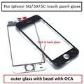 Para iphone 5g 5s 5c painel de toque de vidro com montagem de oca + benzel quadro substituição partstouch visor do painel de vidro frete grátis