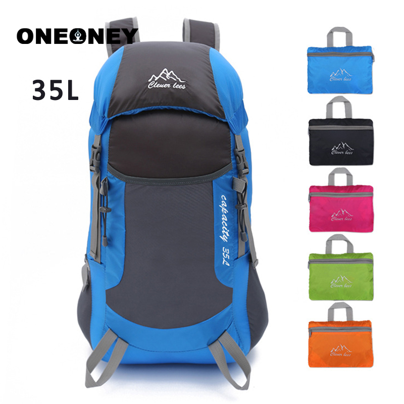 35L Outdoor Backpack Mountaineering Bag Portable Lightweight Nylon Foldable Backpack Waterproof Back Packs Travelling Bags Sport
