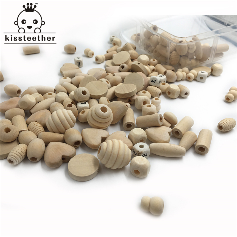 240pcs Unfinished Eco-friendly Block Wood Wooden Beads DIY Pacifier Clip 12 Style Natural Wood Organic Baby Teether Accessories