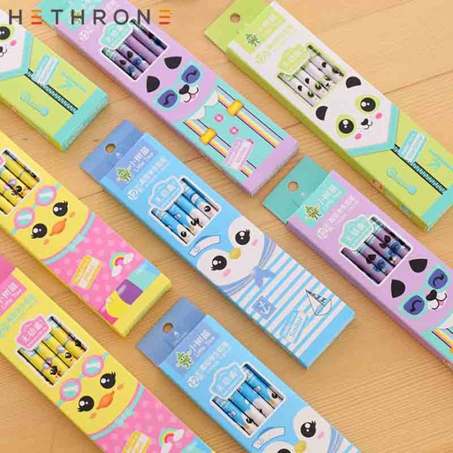 Hethrone 12pcs Animal wooden pencils for school Student writing drawing pencil set crayons sketch graphite lapices school items