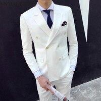 Китайская двубортная Мужская костюмная жилетка со штанами, 3 предмета, приталенная, плюс Размер 3XL, свадебные костюмы для мужчин, белый, кофе