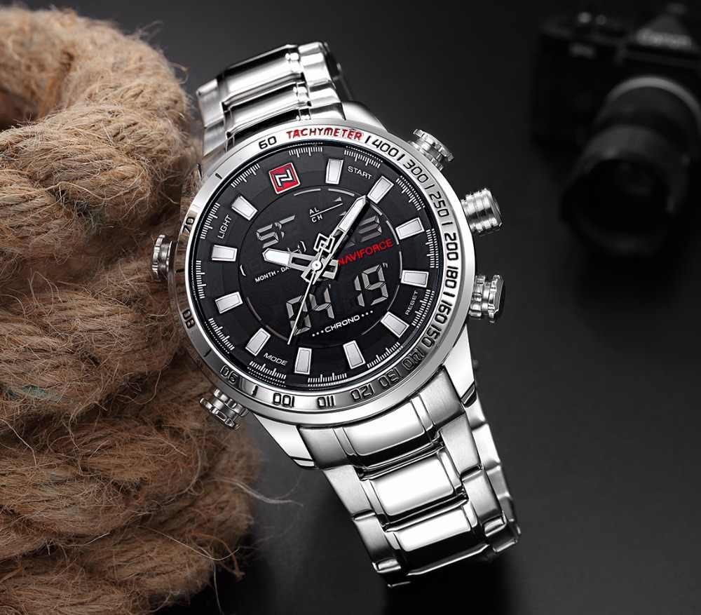Reloj analógico de cuarzo para hombre de NAVIFORCE reloj de pulsera deportivo de lujo a la moda reloj de pulsera de acero inoxidable resistente al agua reloj para hombre