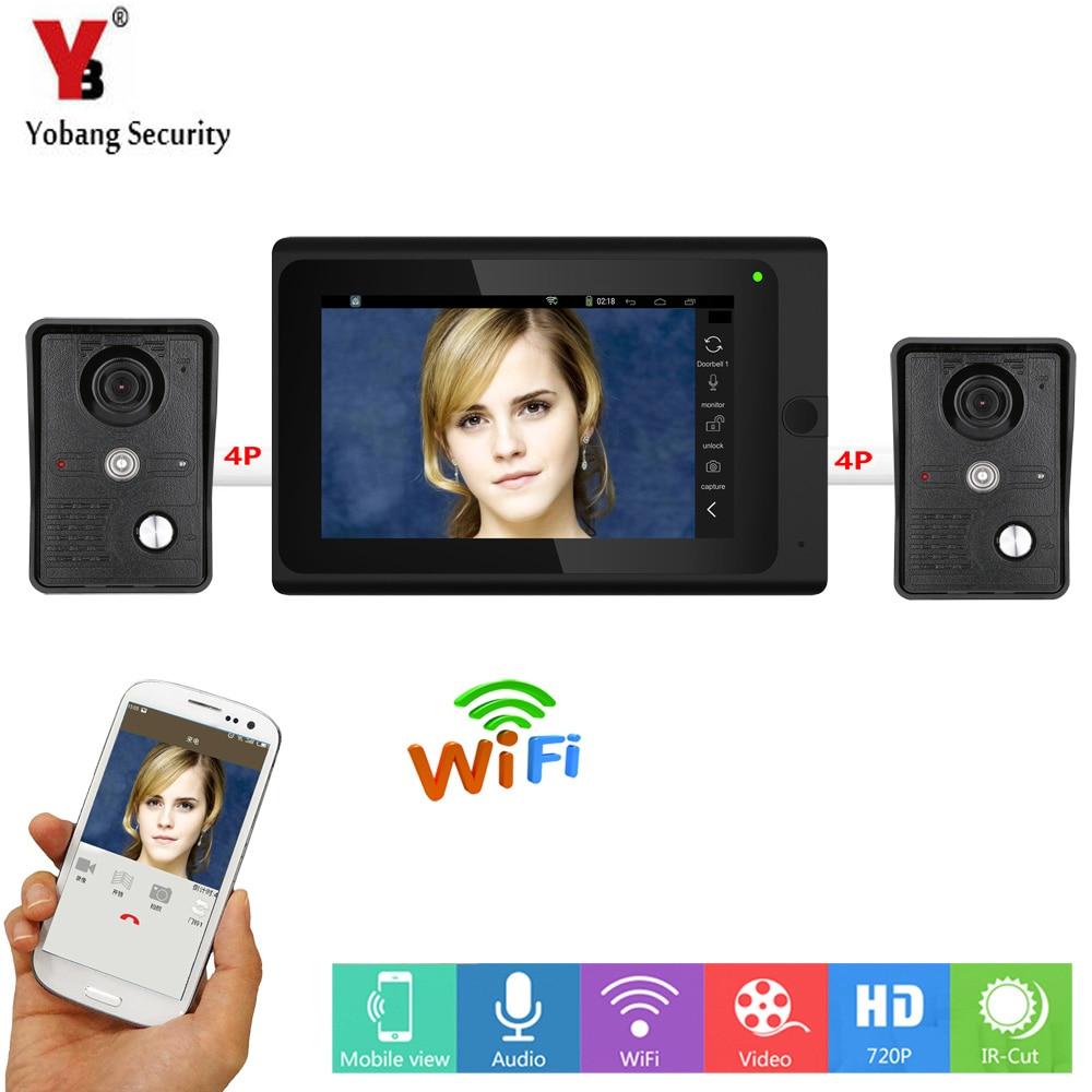 YobangSecurity 7 Inch LCD Wireless Wired Network Video Door Telephone Doorbell Intercom 2 Camera Night Vision
