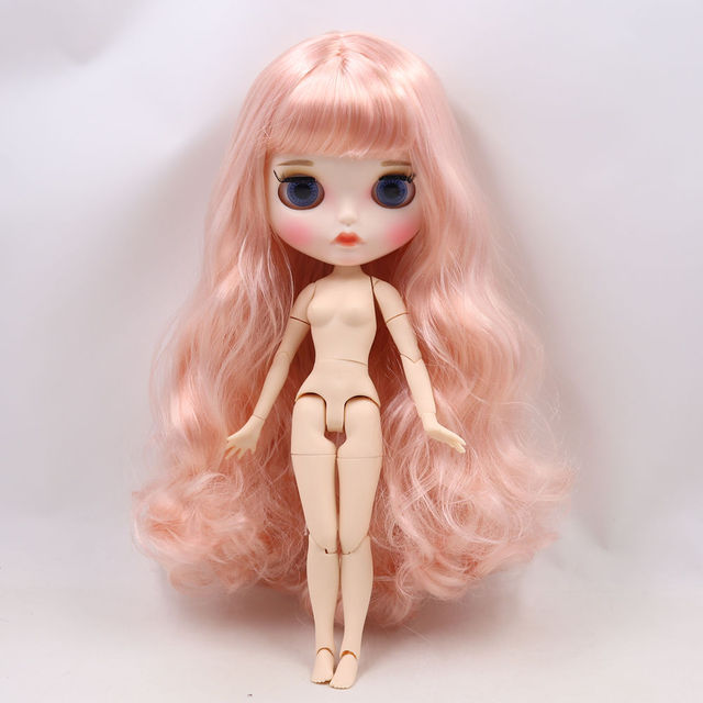 Blyth doll 1/6 bjd white skin joint body Pink mixed color long curly hair new matte face with eyebrows Lip gloss ICY sd toy