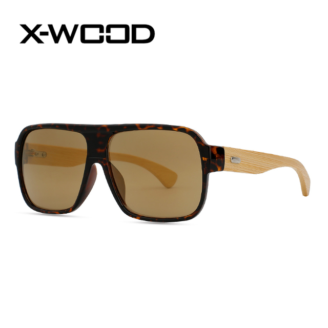 3969668edc X-WOOD Oversized Eyeglass Frames Flat Top Bamboo Sunglasses Men Vintage  Square Sunglasses Women Big Glasses UV400 Oculo Madeire