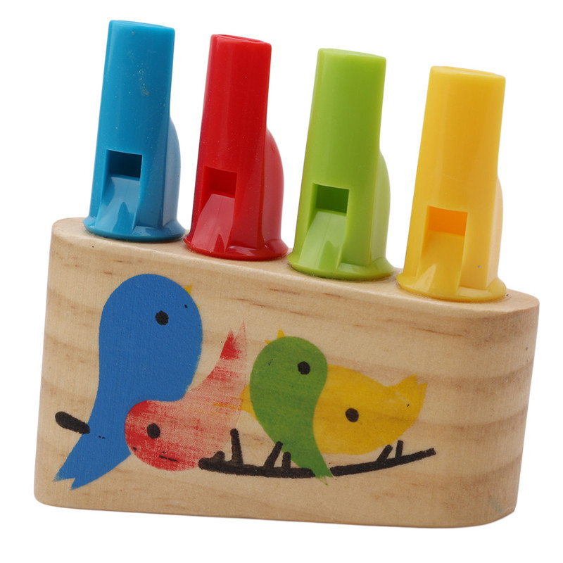 High Quality Baby Wooden Toys Rainbow Panpipe Wood Whistle Birds Whistling Multicolor Infant Musical Toys Early Eduactional Gift