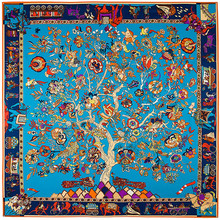 130cm*130cm 2018 Luxury Brand Charm Life Tree Print Twill Silk Scarf For Women Headband Female Large Square Scarves Silk Shawls