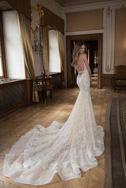 New Luxury Wedding Dress Bodycon Sweetheart Mermaid Backless Bridal Gown White Ivory Size 2 4