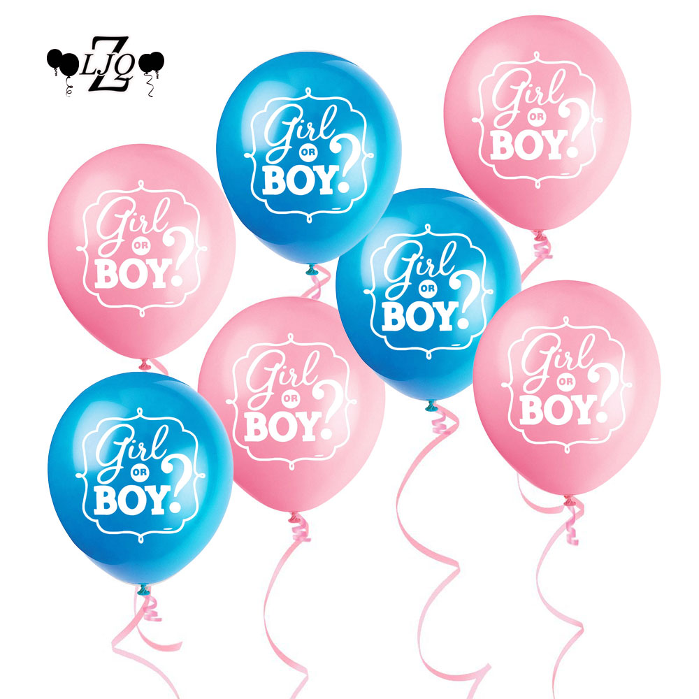 ZLJQ 10pcs Gender Reveal Party Pregnancy Announcement Decoration Pink&blue girl or Boy 12 Inch Latex Balloon for Baby Shower