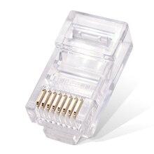 цена на 100Pcs rj45 connector 8P8C Modular Ethernet Cable Head Plug Gold-plated cat5e utp network 8pin unshielded modular cat5 terminals