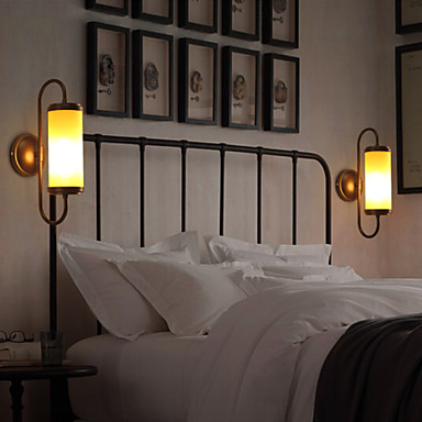 Loft Style Retro Bedside Wall Lights Glass Metal Vintage Wall Lamp For Living Room Stairs Sconce Indoor Lighting Lampara Pared 2016 vintage e27 wall lamp loft indoor outdoor lighting bedside screw thread style black metal lamps lights for home corridor