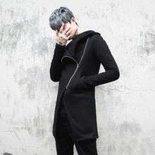 NEW Men Velvet Thick Hooded Sweatshirt Jacket High Street Fashion Casual Zipper Slim Fit Hoodie Coat Male Overcoat China Size