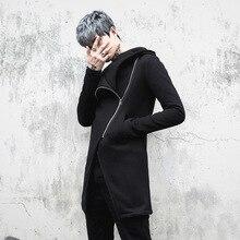 NEW Men Velvet Thick Hooded Sweatshirt Jacket High Street Fashion Casual Zipper Slim Fit Hoodie Coat Male Overcoat China Size