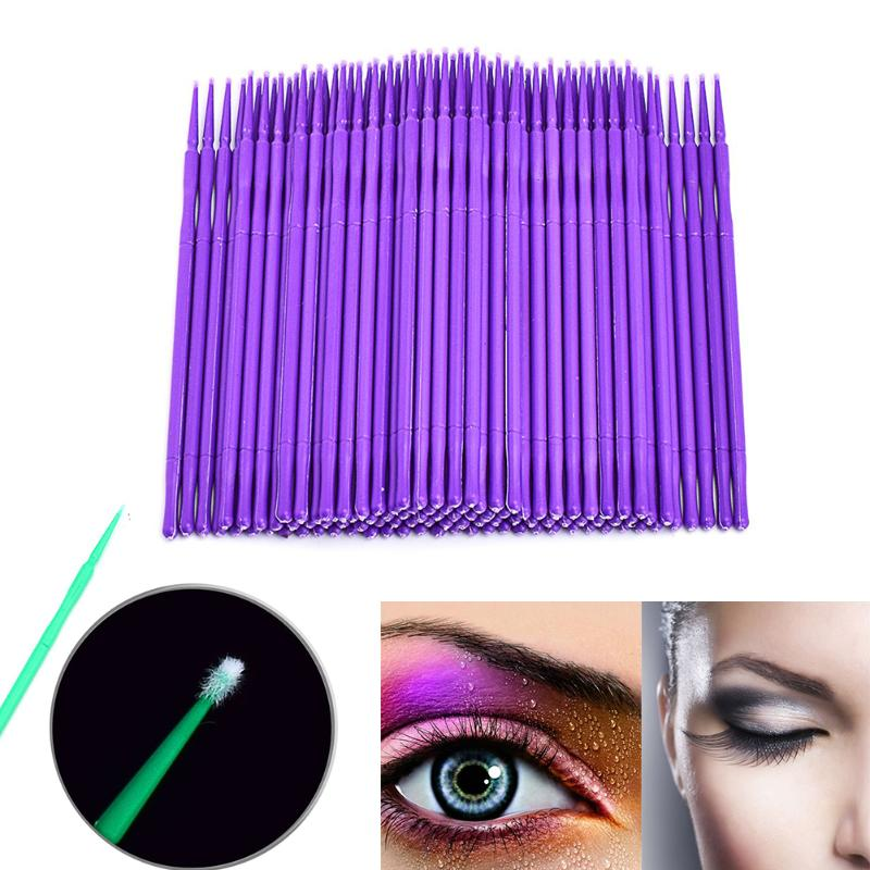 100pcs Disposable Cotton Swabs Eyelashe Brushes Cleaning Swab Hot Natural Eyelashes Remover Tattoo Microbrush Kit Applicator Set