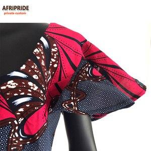 Image 3 - Afrika Ankara kilise Bandana elbiseler kadınlar için özel yapılmış kısa kollu ayak bileği uzunluğu kadın pamuklu elbise kafa wrap ile A722552