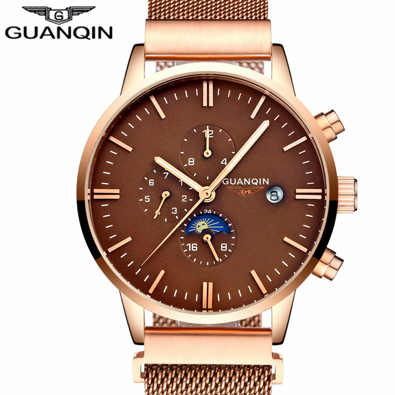 New Fashion GUANQIN Luxury Brand Watch Men Automatic Date Clock Male Mesh Band Gold Full Steel Waterproof Mechanical Wristwatch rosra brand men luxury dress gold dial full steel band business watches new fashion male casual wristwatch free shipping