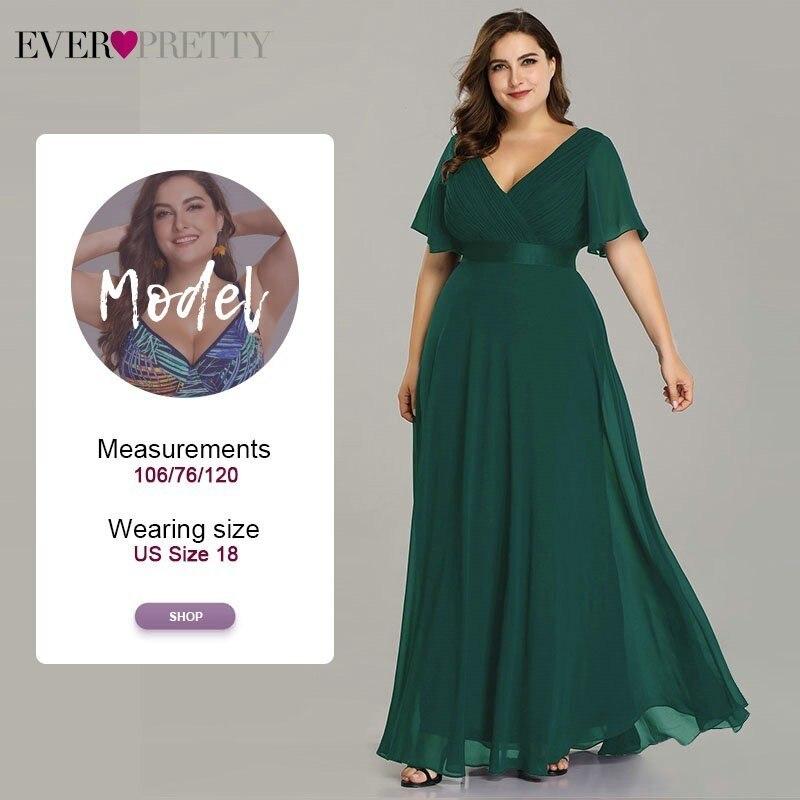 Grande taille robes de soirée jamais jolie col en v Nay bleu élégant a-ligne mousseline de soie longues robes de soirée 2019 manches courtes robes d'occasion - 5