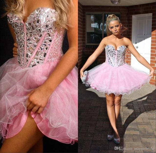 8975656ba7f 2016 Short Pink Homecoming Dresses A Line Sweetheart Sleeveless Beaded And  Crystals Corset Back Tulle Semi Formal Dress