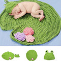 Photo Props Frog Costume Crochet Baby Girl Boy Blanket Hat Caps Knitted Photography Prop  5SY12