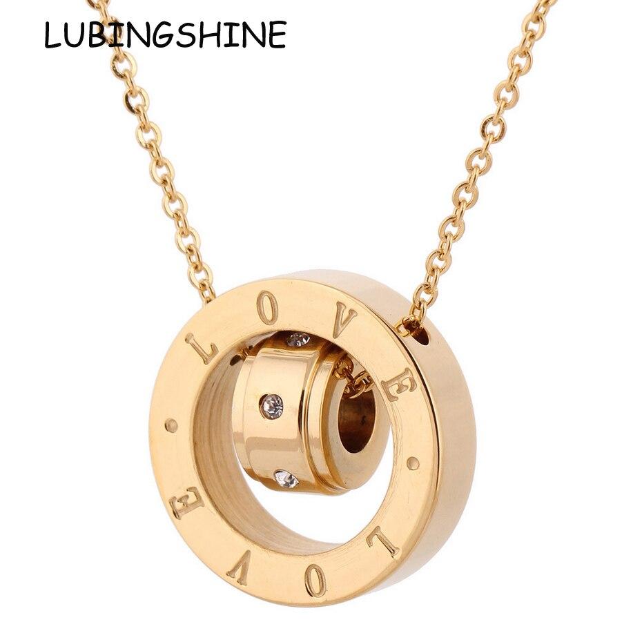 LUBINGSHINE Silver/Gole Women Men Titanium Steel Necklace Hot Sale Romantic Couples Pendant Collier Jewelry Valentines Gift
