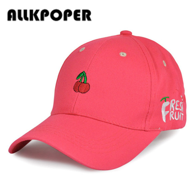 9f220e9fd66 ALLKPOPER New Arrival Spring Leisure Fresh Fruit Embroidery Hat Strawberry  Banana Cherry Orange Peach Baseball Cap