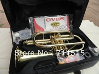 Brand OVES Hot Selling Students B the Cornet Trumpet Instrument Brass Gold Lacquer Trompeta with Nylon Case