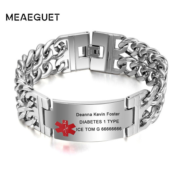 Medical Alert Id Bracelet For Men Stainless Steel Customized Phone Number Epilepsy Allergy Silver Color Male